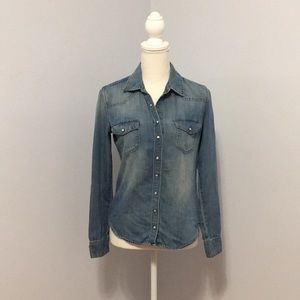 H&M Dark Blue Women's Denim Shirt with Pockets